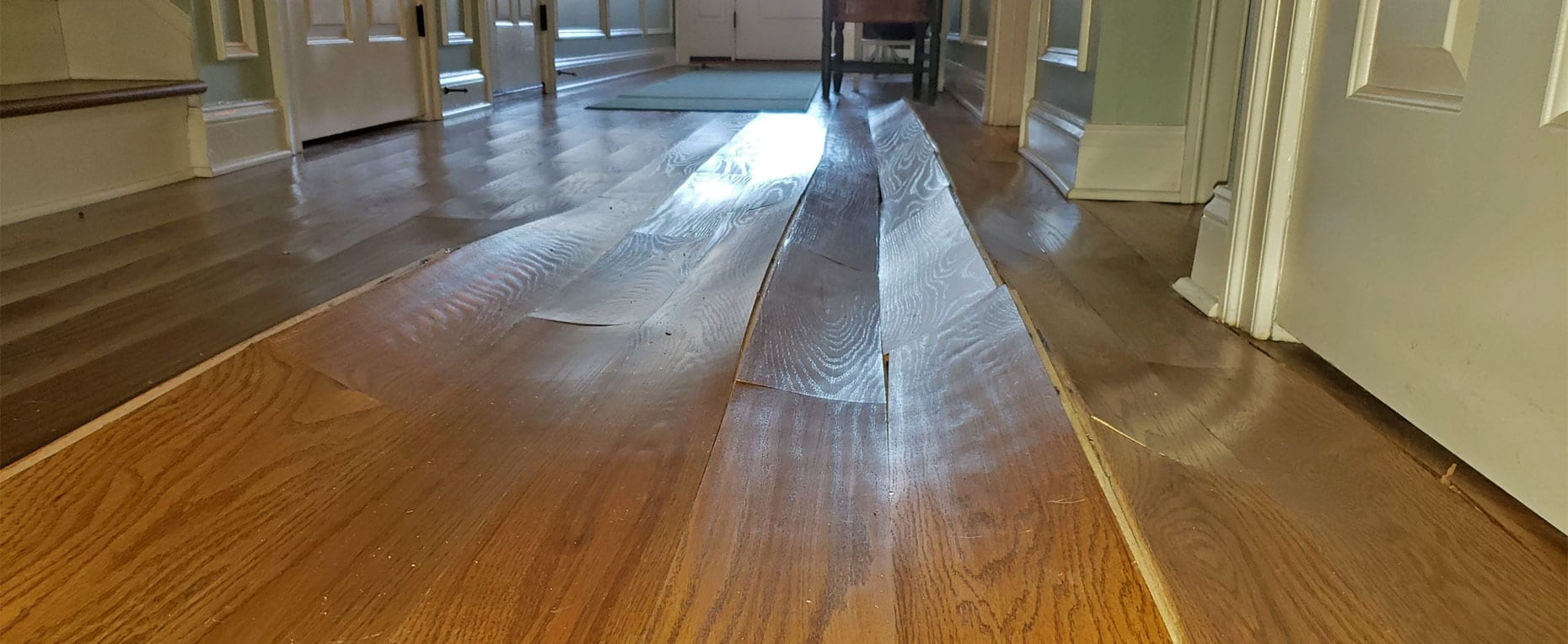 I think my hardwood floor has water damage? At this point in the photo, it's too late.