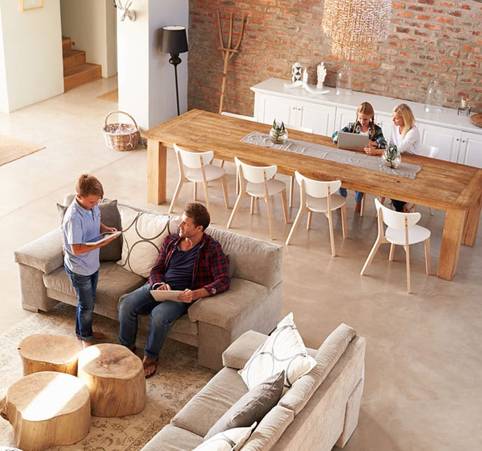 Family relaxing in gorgeous mold free home in Maryland